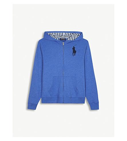 RALPH LAUREN Embroidered logo zip-through cotton-blend hoody 6-14 years (New+iris