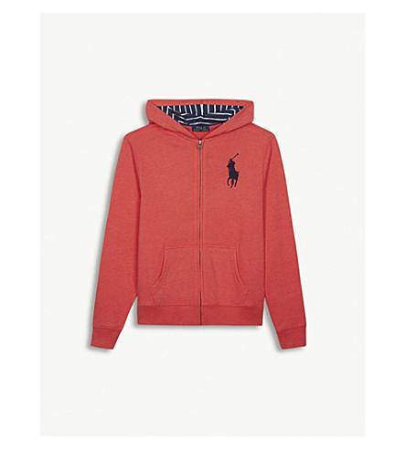 RALPH LAUREN Embroidered logo zip-through cotton-blend hoody 6-14 years (Orange+red