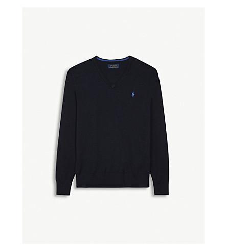 RALPH LAUREN V-neck brand logo cotton jumper 6-14 years (Hunter+navy