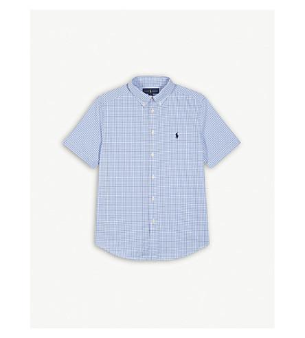 RALPH LAUREN Gingham check cotton shirt S-XL (Lt+blue+multi