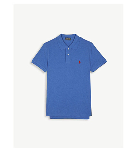 RALPH LAUREN Embroidered logo piqué cotton polo shirt 6-14 years (Blue+heather
