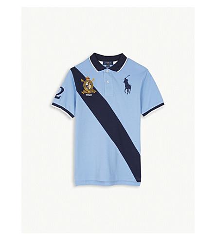 RALPH LAUREN Diagonal stripe cotton polo shirt 6-14 years (Blue+lagoon