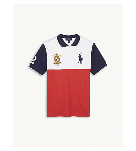 RALPH LAUREN Patch-embroidered cotton-piqué polo shirt 8-16 years (Orange+red