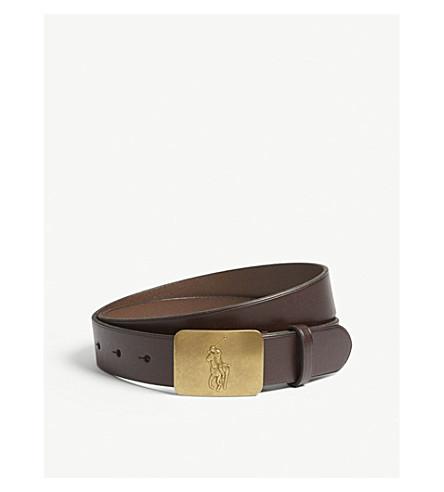 RALPH LAUREN Embossed logo leather belt 8-14 years (Brown