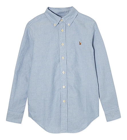 RALPH LAUREN Custom fit long-sleeve shirt 8-16 years (Blue