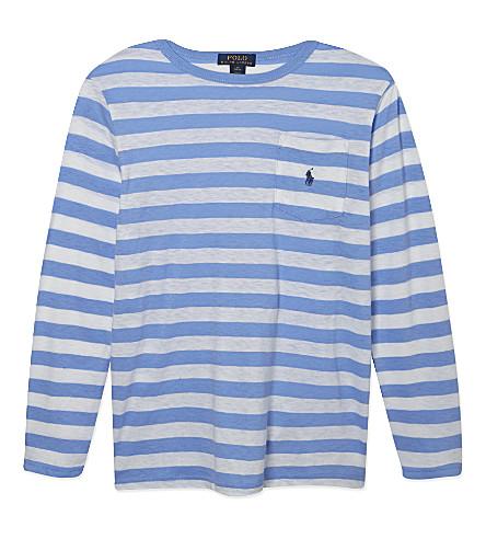 RALPH LAUREN Striped cotton t-shirt 6-14 years (Cabana blue mul