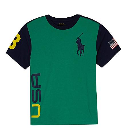 RALPH LAUREN Big pony cotton t-shirt 6-14 years (Galway green