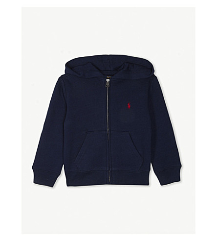 RALPH LAUREN Zipper-up cotton-blend hoody 6-14 years (Cruise+navy