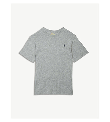 RALPH LAUREN Logo cotton T-shirt 6-14 years (Andover+heather