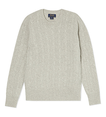 RALPH LAUREN Cashmere cable knit jumper 6-14 years (Lt grey heather
