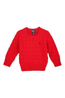 RALPH LAUREN Cable knit crew neck jumper 2-7 years