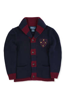 RALPH LAUREN Shawl collar patch cardigan 8-16 years