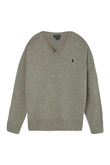 RALPH LAUREN Suede detail jumper S-XL