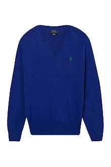 RALPH LAUREN V-neck suede elbow patch jumper S-XL