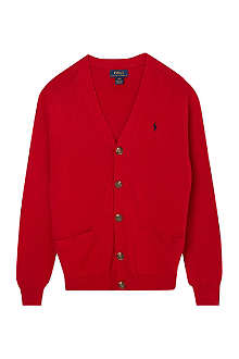 RALPH LAUREN Suede elbow patch cardigan S-XL
