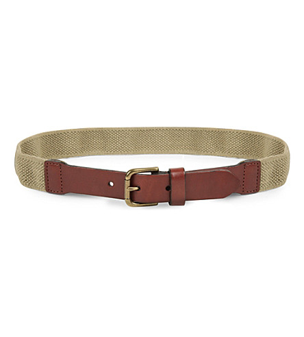 RALPH LAUREN Elasticated canvas and leather belt 6-14 years (Khaki