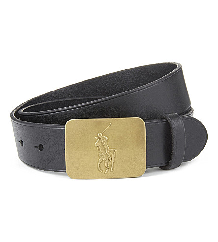 RALPH LAUREN Logo-detail leather belt 6-14 years (Black