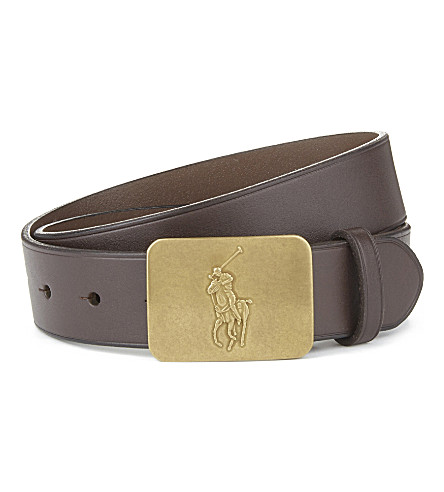 RALPH LAUREN Logo-detail leather belt 6-14 years (Dk+brown