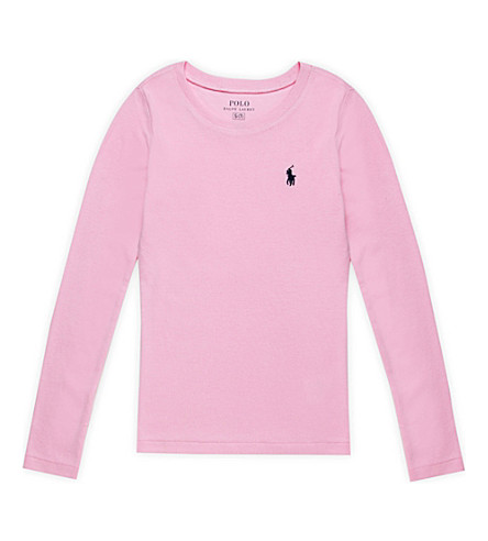 RALPH LAUREN Embroidered-logo cotton-blend top 7-14 years (Carmel+pink