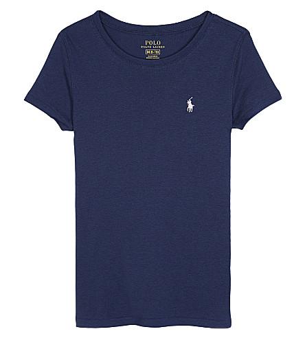 RALPH LAUREN Cotton-blend t-shirt 7-14 years (Spring+navy