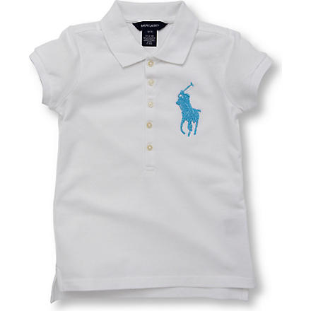 RALPH LAUREN Beaded polo shirt 7-16 years (White