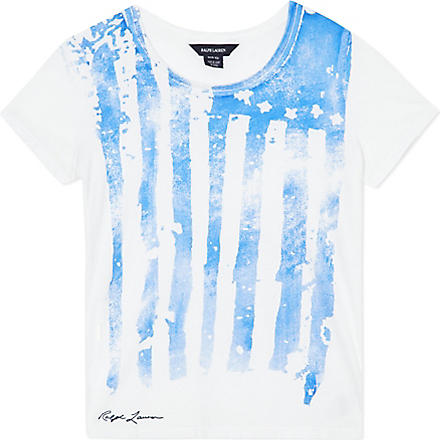RALPH LAUREN Neon flag t-shirt S-XL (White/neon blue