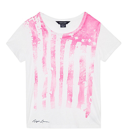RALPH LAUREN Neon flag t-shirt S-XL (White/neon pink