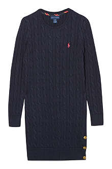 RALPH LAUREN Cable knit jumper dress 7-16 years