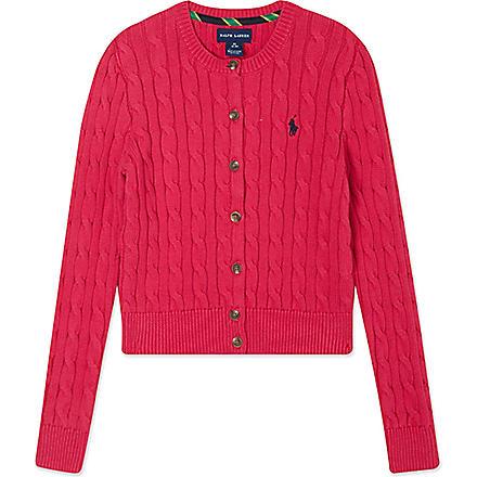 RALPH LAUREN Shrunken fit cardigan S-XL (Currant
