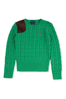RALPH LAUREN Cable-knit suede patch jumper S-XL