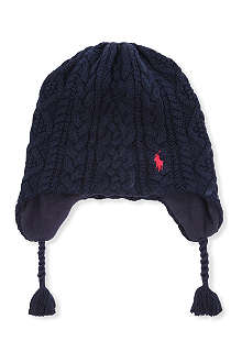 RALPH LAUREN Aran cable-knit ear flap hat