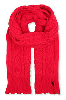 RALPH LAUREN Aran cable-knit scarf