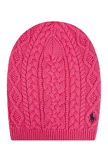 RALPH LAUREN Aran cable knit slouchy hat