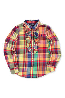 RALPH LAUREN Ruffle plaid shirt 2-7 years