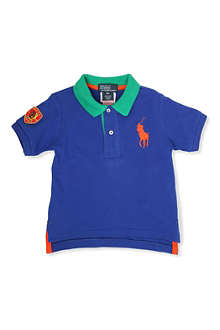RALPH LAUREN Big Pony colour-block polo shirt 9-24 months