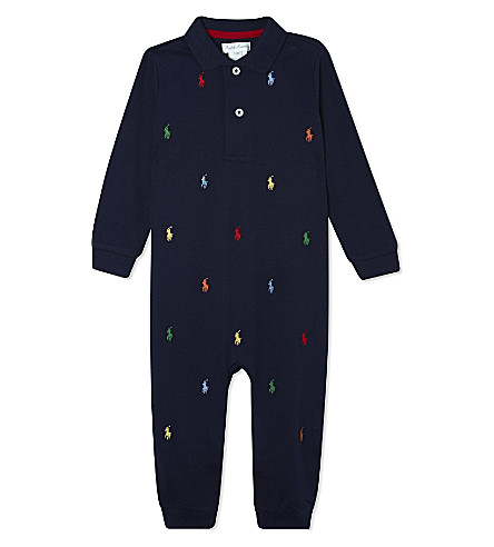 RALPH LAUREN Polo neck sleepsuit Newborn-12 months (French+navy