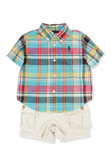 RALPH LAUREN Checked shirt and cargo shorts set 9-24 months
