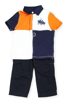 RALPH LAUREN Colour-Block polo and trousers set 9-24 months