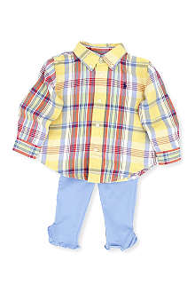 RALPH LAUREN Plaid shirt and legging set 12-24 months
