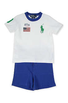 RALPH LAUREN USA t-shirt and shorts set 9-24 months