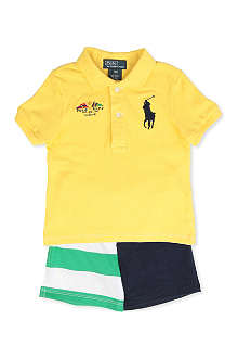 RALPH LAUREN Big Pony polo shirt and shorts set 12-24 months