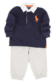 RALPH LAUREN Big Pony rugby shirt and sweatpant set 3-24 months