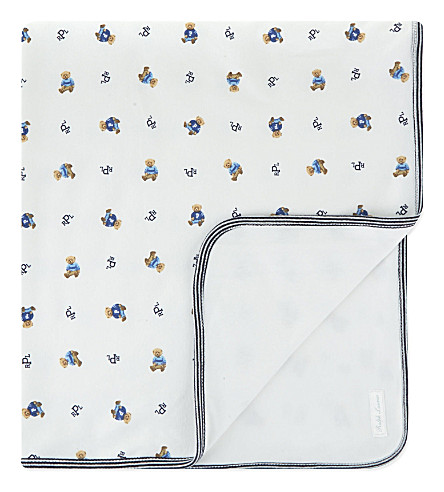 RALPH LAUREN Reversible bear blanket (White+multi+navy