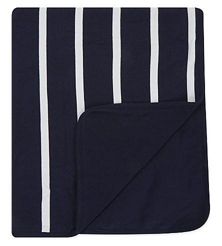 RALPH LAUREN Striped cotton blanket (French+navy+m