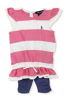 RALPH LAUREN Striped top and legging set 9-24 months