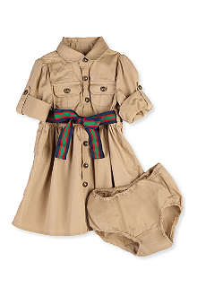 RALPH LAUREN Twill Cargo shirtdress set 9-18 months
