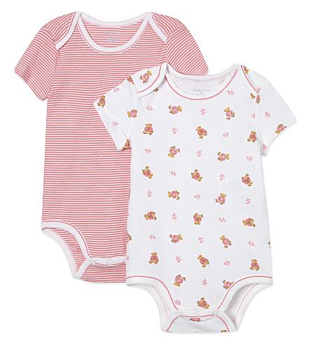 RALPH LAUREN Bodysuits 2 pack 3-9 months (White+multi+pink
