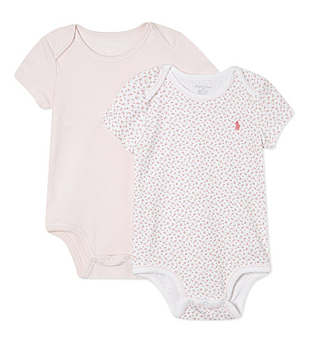 RALPH LAUREN Bodysuits two pack 3-9 months (White+multi+pink