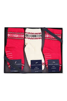 RALPH LAUREN Pack of three Fair Isle socks 6-24 months