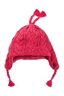 RALPH LAUREN Aran cable knitted flap hat